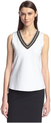 Society New York Women's Sleeveless Beaded V-Neck Top