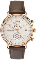 Sekonda 1381.27 Chronograph Date Leather Strap Watch, Brown/cream