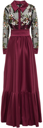 Badgley Mischka Belted Embellished Tulle-paneled Faille Gown