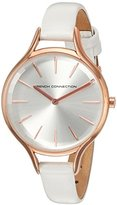 French Connection Women's 'Daisy Petite' Quartz Metal and Leather Watch, Color:White (Model: FC1253WRG)