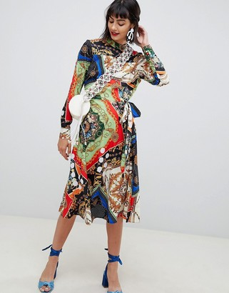 Asos DESIGN midi dress with pleated skirt in scarf print