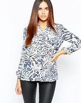 Warehouse Animal Silk Print Blouse