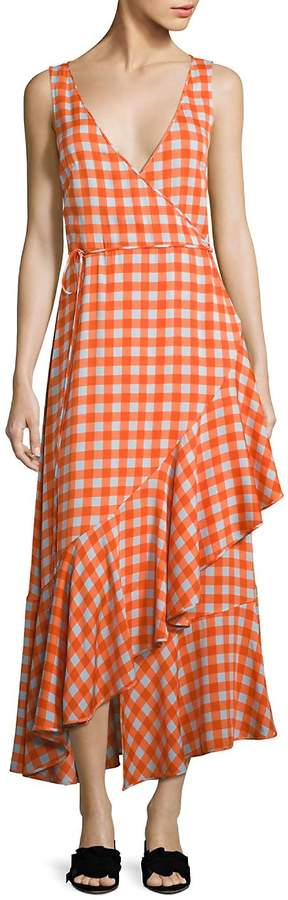 Diane von Furstenberg Women's Gingham Asymmetrical Ruffled Midi Dress