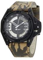 2xist Stainless Steel & Leather Army Band Watch