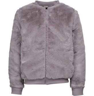 Fluid Girls Faux Fur Bomber Jacket Grey