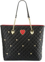 Betsey Johnson Quilted Flower-Stud Chain Shopper Tote Bag