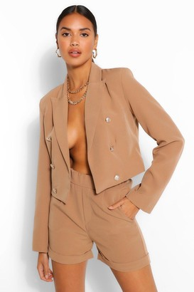 boohoo Crop Military Button Blazer