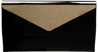 Jimmy Choo Black/Gold Shimmering Leather and Metal Charlize Envelope Clutch