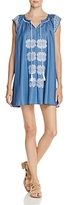 En Creme Embroidered Chambray Mini Dress - 100% Exclusive