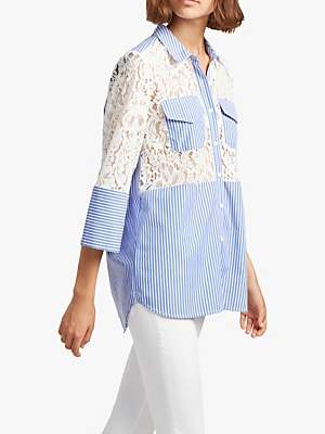 French Connection Adena Stripe and Lace Boxy Cotton Shirt, Riviera Blue/Linen White