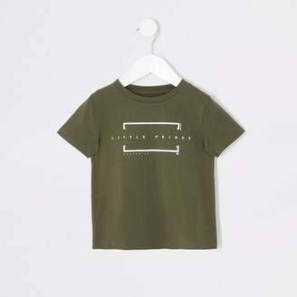 River Island Mini boys Khaki 'Little Prince' T-shirt