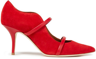 Malone Souliers Maureen Leather-trimmed Suede Pumps