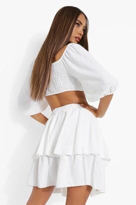 boohoo Woven Sweetheart Crop & Ruffle Mini Skirt Set