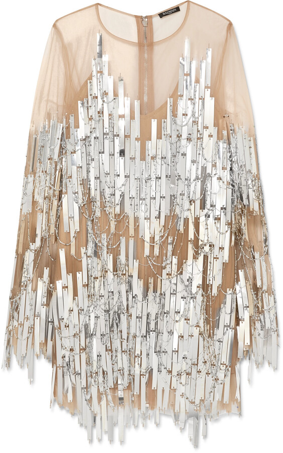 Thumbnail for your product : Balmain Embellished Tulle Mini Dress - Silver