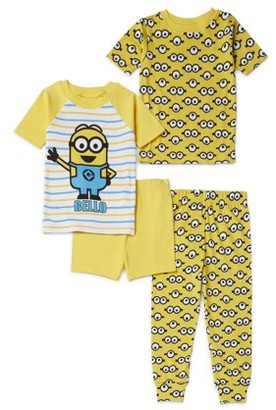 Minions Toddler Boys Snug Fit Cotton Short Sleeve Pajamas, 4pc Set (2T-4T)