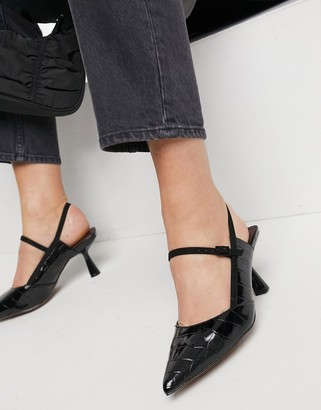 ASOS DESIGN Sapphire pointed mary jane mid heels in black