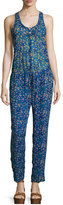 Etoile Isabel Marant Salina Floral Silk Jumpsuit, Electric Blue