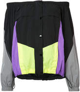 Alexander Wang off-the-shoulder panelled track top