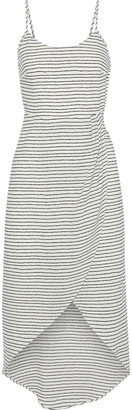 Iris & Ink Clara Wrap-effect Bow-detailed Striped Georgette Dress