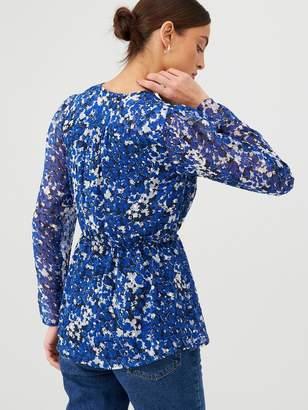 Very Printed Wrap Top - Blue Floral
