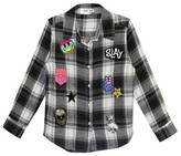 Franki & Jack Girls' Say What? Plaid Shirt with Patches - Black/Gray L