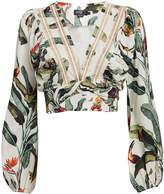 PatBO Tropical Cropped Wrap Top