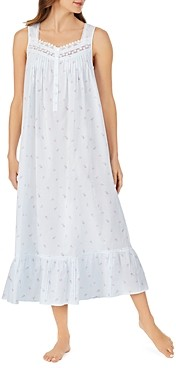 Eileen West Cotton Floral Lattice-Lace Nightgown
