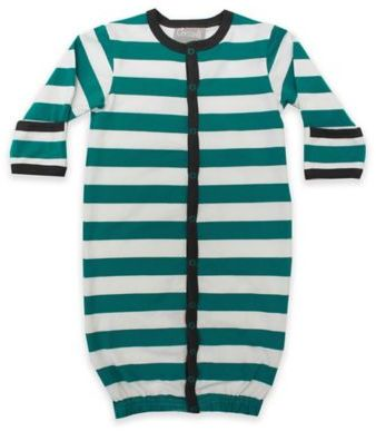 Coccoli 0-1M Striped Converter Gown in Green