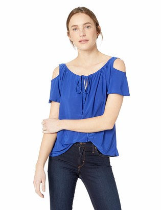 Star Vixen Women's Short Sleeve Cold-Shoulder Peasant Top