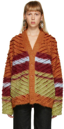 Y/Project Burgundy and Orange Mohair Striped Cardigan