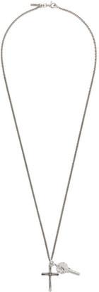 Emanuele Bicocchi Silver Cross and Key Pendant Necklace