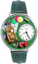 Whimsical Watches Personalized Casino Womens Silver-Tone Bezel Green Leather Strap Watch