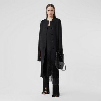 Burberry Fringed Double-faced Wool Cashmere Car Coat