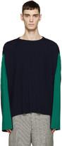 Loewe Navy & Green Oversized Plissé Sweater