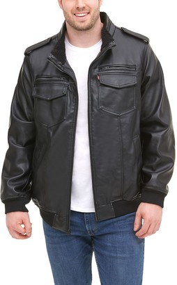 Levi's Men's Faux Leather Aviator Bomber Jacket with Sherpa Lining