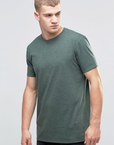 Asos Longline T-Shirt With Crew Neck In Green Marl