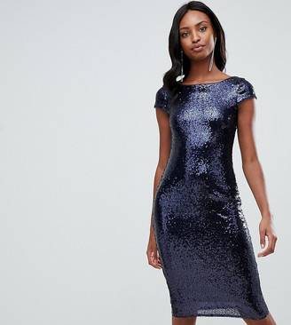 TFNC Tall Tall sequin cap sleeve midi dress with open back in navy