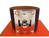 Hermes pristine (PR 2013 Prune Kelly Dog Extreme Palladium Silver Bracelet Bangle - Rare