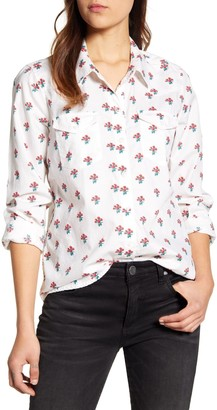 Lucky Brand Floral Collared Pocket Blouse