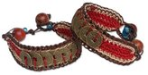 "Novica Woven Wristband Bracelets with Coins and Wooden Beads, 6"", 'Coins of Passion' (pair)"