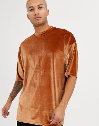Asos Design DESIGN oversized super longline t-shirt with half sleeve in brown velour