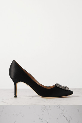 Manolo Blahnik Hangisi Embellished Satin Pumps - Black