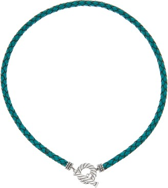 American West Sterling Silver Braided Leather Toggle Necklace