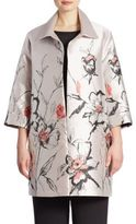Caroline Rose All In Bloom Floral Jacquard Long Jacket
