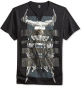 INC International Concepts Men's Foil Striped Split-Neck T-Shirt, Only at Macy's
