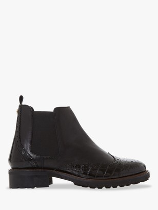 Dune Quarters Wide Fit Leather Chelsea Boots, Black