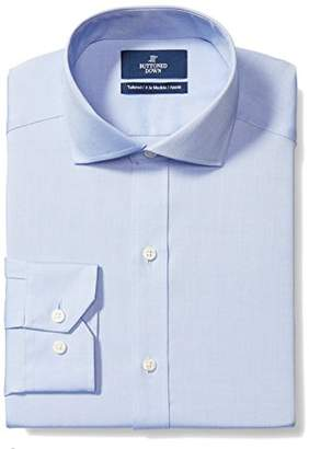 Buttoned Down Men's Tailored Fit Cutaway-Collar Solid Non-Iron Dress Shirt (No Pocket)