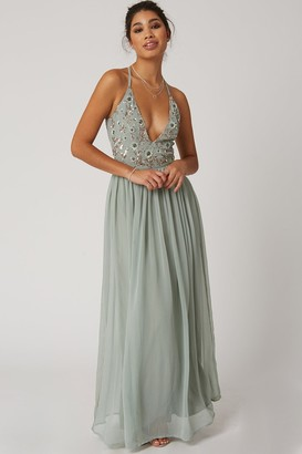 Little Mistress Tilly Waterlily Floral Sequin Plunge Maxi Dress