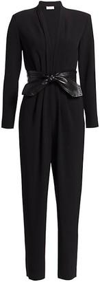 A.L.C. Kieran Leather Tie-Belt Jumpsuit