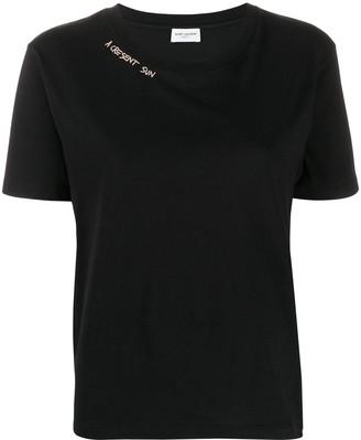 Saint Laurent slogan detail T-shirt